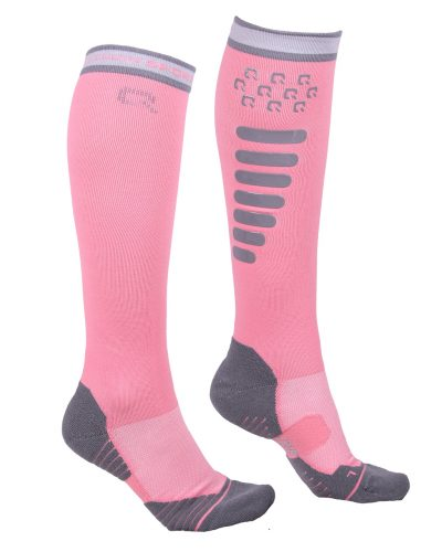 qhp silicone grip tall riding socks pink